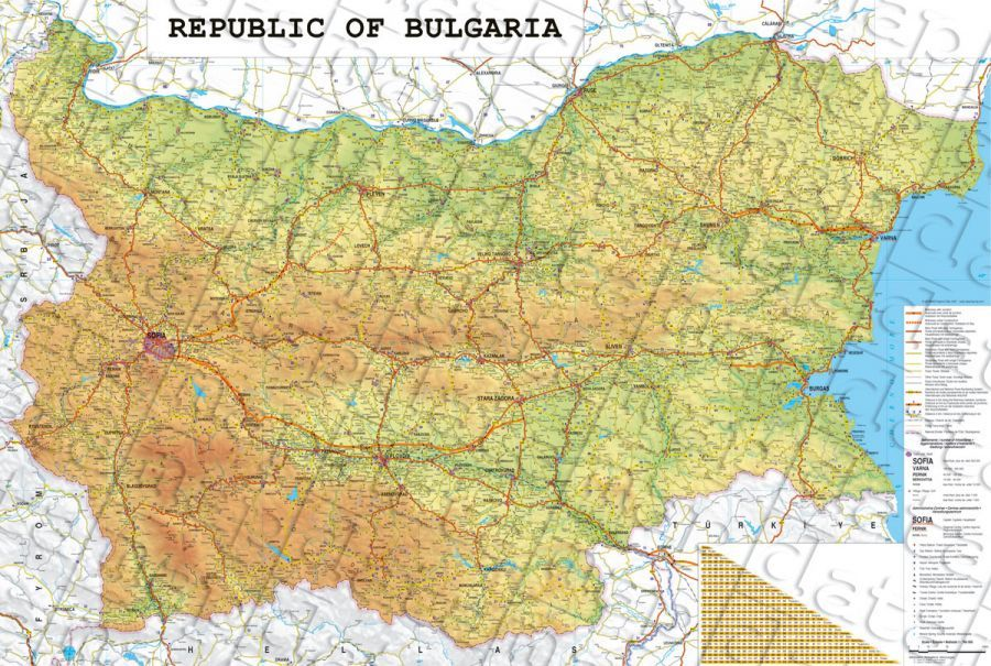 Wall Road Map Of Bulgaria Ptna Karta Na Blgariya Na Anglijski